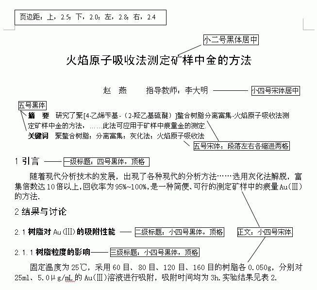毕业论文格式精编版
