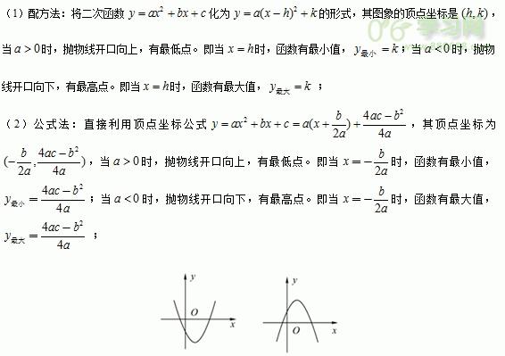 2016学年初三数学下学期《二次函数的应用》知识点