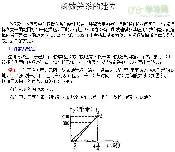 高一沪教版数学函数关系的建立知识点讲解